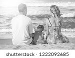 happy family playing on the sea ... | Shutterstock . vector #1222092685