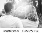 happy couple on nature in the... | Shutterstock . vector #1222092712