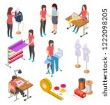 sewing factory isometric set.... | Shutterstock .eps vector #1222098205
