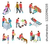 volunteers isometric set.... | Shutterstock .eps vector #1222098235