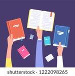 hands holding books. public... | Shutterstock .eps vector #1222098265