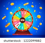 wheel of fortune with gold 3d... | Shutterstock .eps vector #1222099882