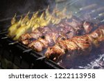 pork and quail barbecue on... | Shutterstock . vector #1222113958