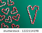red and white mini candy canes  ... | Shutterstock . vector #1222114198