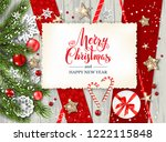 festive winter rustic card | Shutterstock .eps vector #1222115848