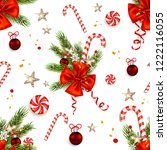 candy cane and ribbon card | Shutterstock .eps vector #1222116055