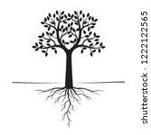 black trees and roots. vector... | Shutterstock .eps vector #1222122565