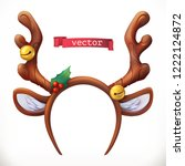 christmas mask with reindeer... | Shutterstock .eps vector #1222124872