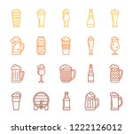beer mug thin line icons set.... | Shutterstock .eps vector #1222126012