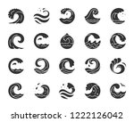 wave silhouette icons set. sign ... | Shutterstock .eps vector #1222126042
