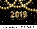 happy new 2019 year background. ... | Shutterstock .eps vector #1222134112