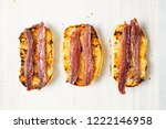 close up of anchovy toast | Shutterstock . vector #1222146958