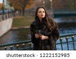 pretty woman in brown fur coat... | Shutterstock . vector #1222152985
