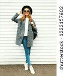 fashion full length woman in... | Shutterstock . vector #1222157602