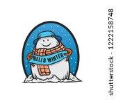 snowman hello winter | Shutterstock .eps vector #1222158748