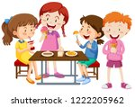 set of children eating together ... | Shutterstock .eps vector #1222205962