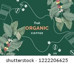 organic coffee banner template... | Shutterstock .eps vector #1222206625