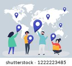 characters of people with map... | Shutterstock .eps vector #1222223485
