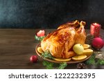 roasted christmas chicken or... | Shutterstock . vector #1222232395
