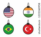 christmas ball with usa  india  ... | Shutterstock .eps vector #1222260958