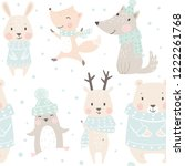 Stock vector bear wolf reindeer hare fox penguin baby winter seamless pattern cute animal christmas 1222261768