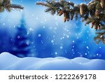 winter landscape with snow ... | Shutterstock . vector #1222269178