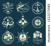 vintage monochrome marine... | Shutterstock .eps vector #1222273585