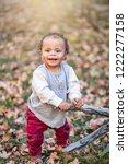 outdoor portrait of a beautiful ...   Shutterstock . vector #1222277158