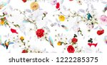 wide seamless floral background ... | Shutterstock .eps vector #1222285375
