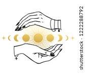 Women\'s Hands Holding Moon....