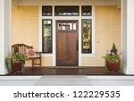 wooden front door of a home....