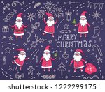 holiday set with santa claus... | Shutterstock .eps vector #1222299175