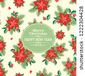 merry christmas card with badge ... | Shutterstock .eps vector #1222304428