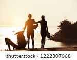 couple's silhouettes stands... | Shutterstock . vector #1222307068