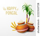 happy pongal greeting card on... | Shutterstock .eps vector #1222310728