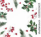 christmas composition. frame... | Shutterstock . vector #1222312615