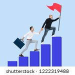 manager and his staff reaching... | Shutterstock . vector #1222319488