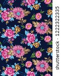 seamless pattern with flowers... | Shutterstock .eps vector #1222322335