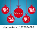 christmas balls with sale and ... | Shutterstock .eps vector #1222326085