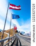 national flags at grossglockner ...   Shutterstock . vector #1222327225