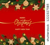 merry christmas and happy new... | Shutterstock .eps vector #1222327585