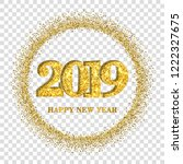 happy new year card  gold... | Shutterstock .eps vector #1222327675