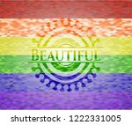 beautiful emblem on mosaic... | Shutterstock .eps vector #1222331005