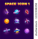 space elements set for 2d games.... | Shutterstock .eps vector #1222338358