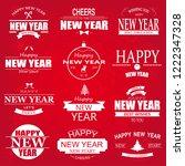 typographic happy new year... | Shutterstock . vector #1222347328