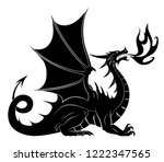 dragon silhouette with fire | Shutterstock .eps vector #1222347565