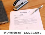 blank form of the living will... | Shutterstock . vector #1222362052