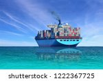 cargo ship ailing in the sea... | Shutterstock . vector #1222367725
