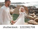 stylish romantic wedding couple ...   Shutterstock . vector #1222381708