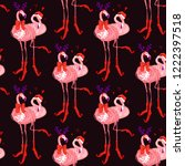 christmas tropical pattern with ... | Shutterstock .eps vector #1222397518